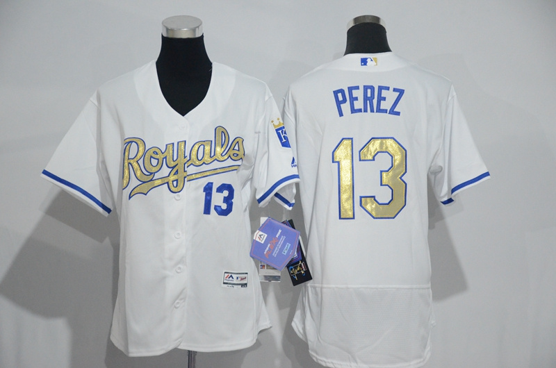 womens-2017-mlb-kansas-city-royals-13-perez-white-gold-elite-jerseys