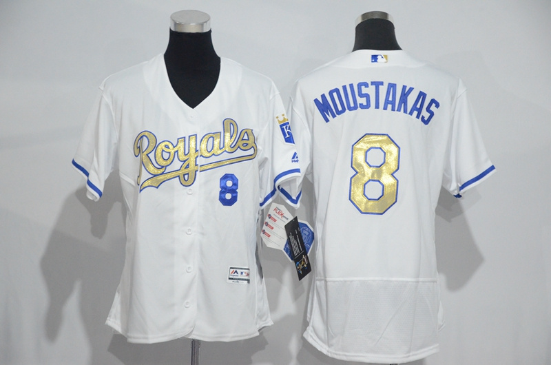 womens-2017-mlb-kansas-city-royals-8-moustakas-white-gold-elite-jerseys